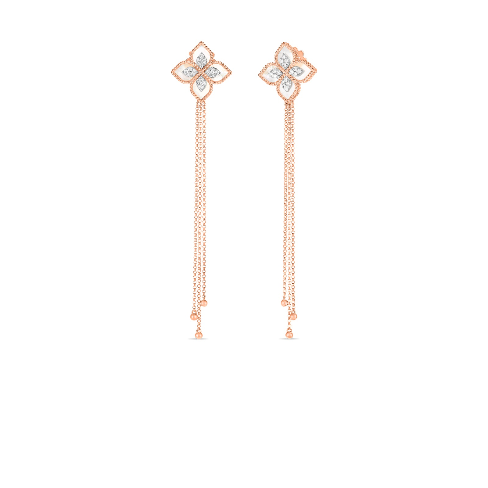 Roberto Coin 18k Rose Gold .34cts  Diamonds Gold Earrings with Stones 8882800AHERX