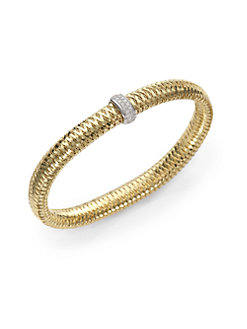 Roberto Coin 18k White Gold .22cts  Diamonds Gold Bangle with Stones 557183AJBAX0