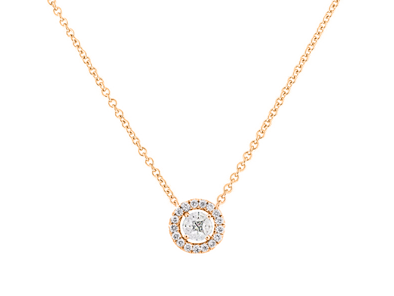 Sloane Street 18K Rose Gold .60cts  Diamonds Gold Necklace with Stones P008-1-WD-R