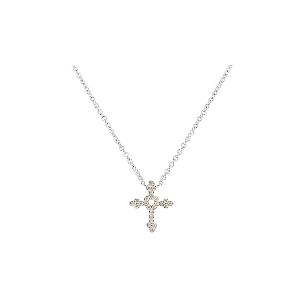 Sloane Street 18K White Gold .12cts  Diamond Gold Necklace with Stones P007D-WD-W
