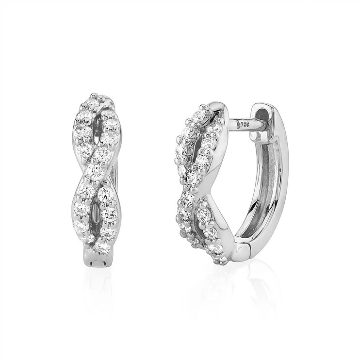 Sloane Street 18K White Gold .17cts  Diamonds Gold Earrings with Stones H002E-WD-W