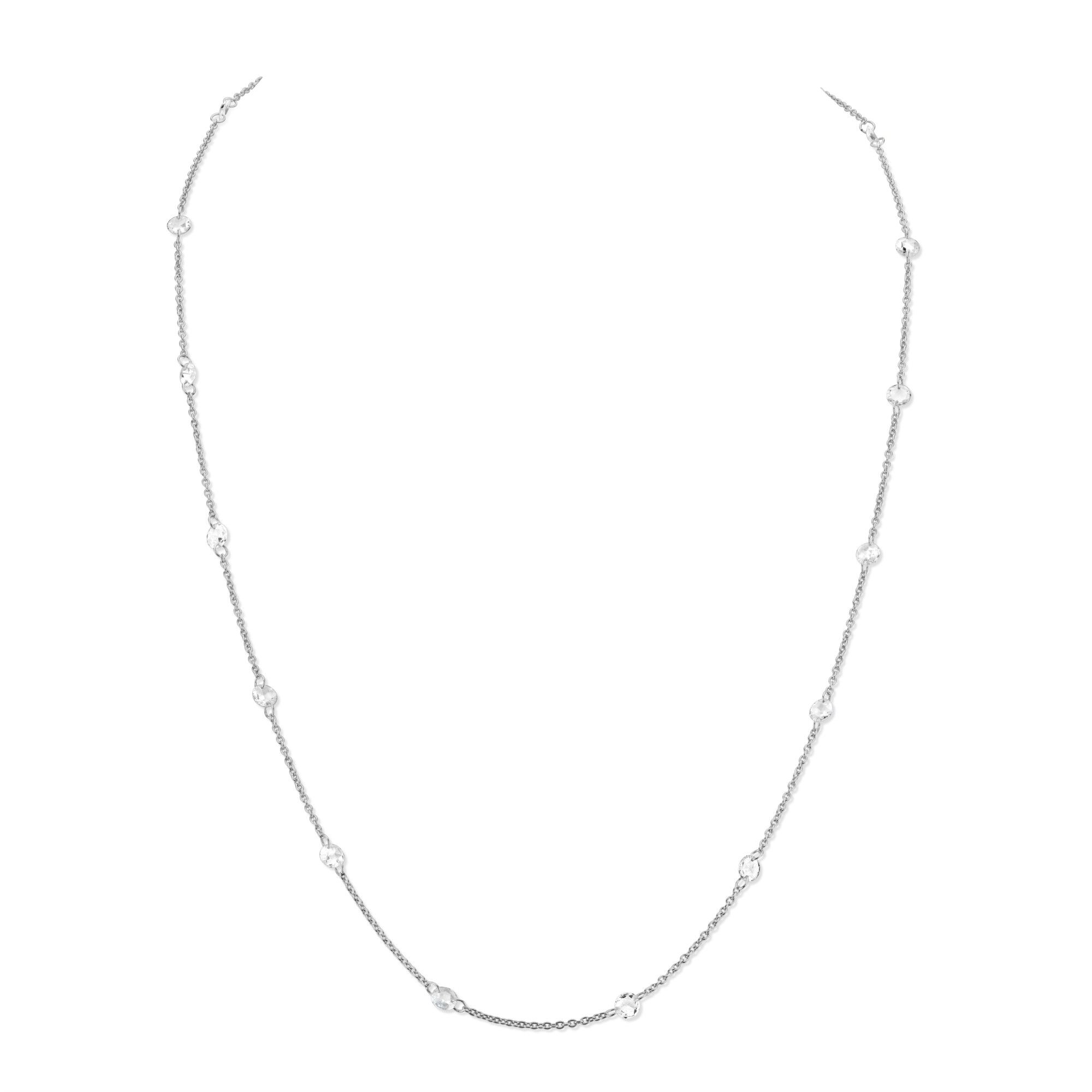 Sloane Street 18K White Gold 1.86cts  Diamonds Gold Necklace with Stones CH021-WD-W-18-16