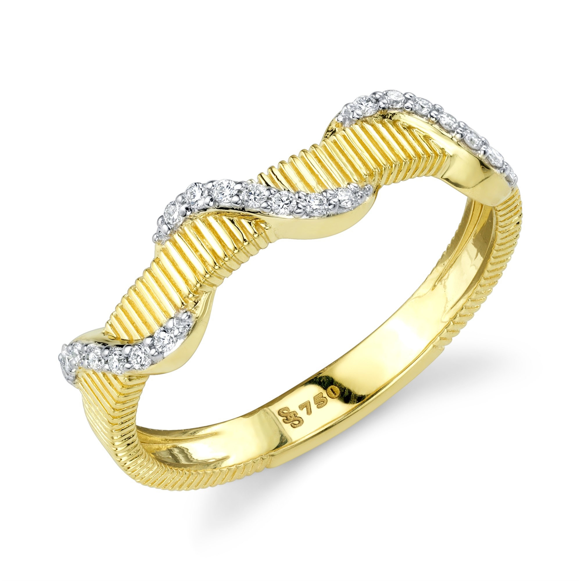 Sloane Street 18K Yellow Gold .10cts  Diamonds Gold Ring with Stones R009F-WDCB-Y