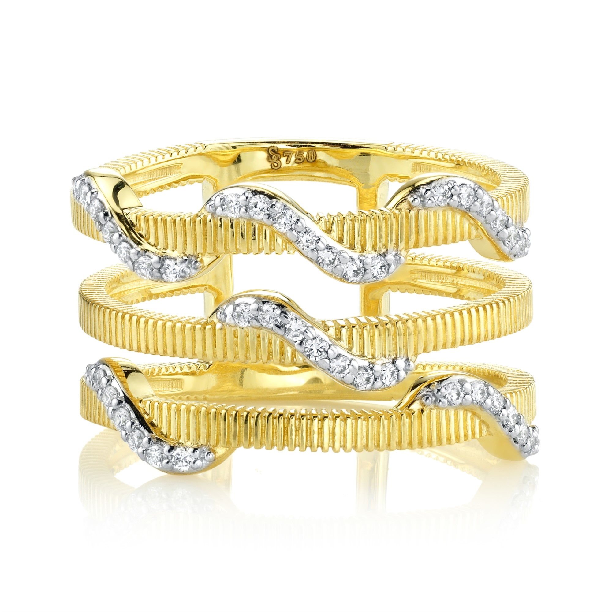 Sloane Street 18K Yellow Gold .21ct  Diamonds Gold Ring with Stones R010F-WDCB-Y