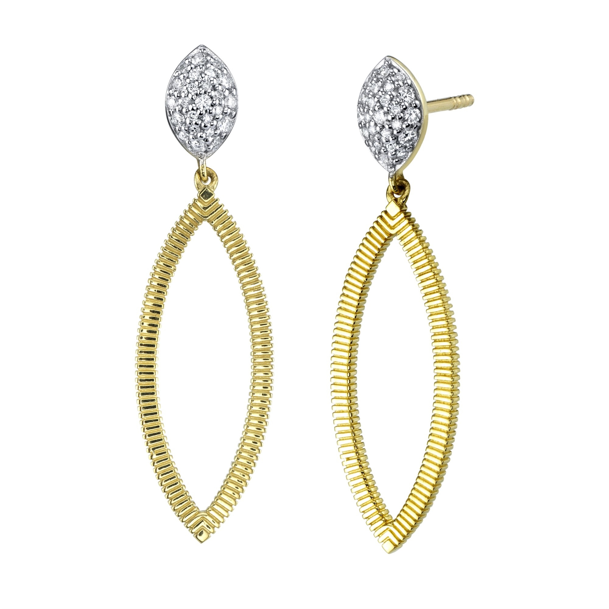 Sloane Street 18K Yellow Gold .21cts  Diamonds Gold Earrings with Stones E005E-WDCB-Y