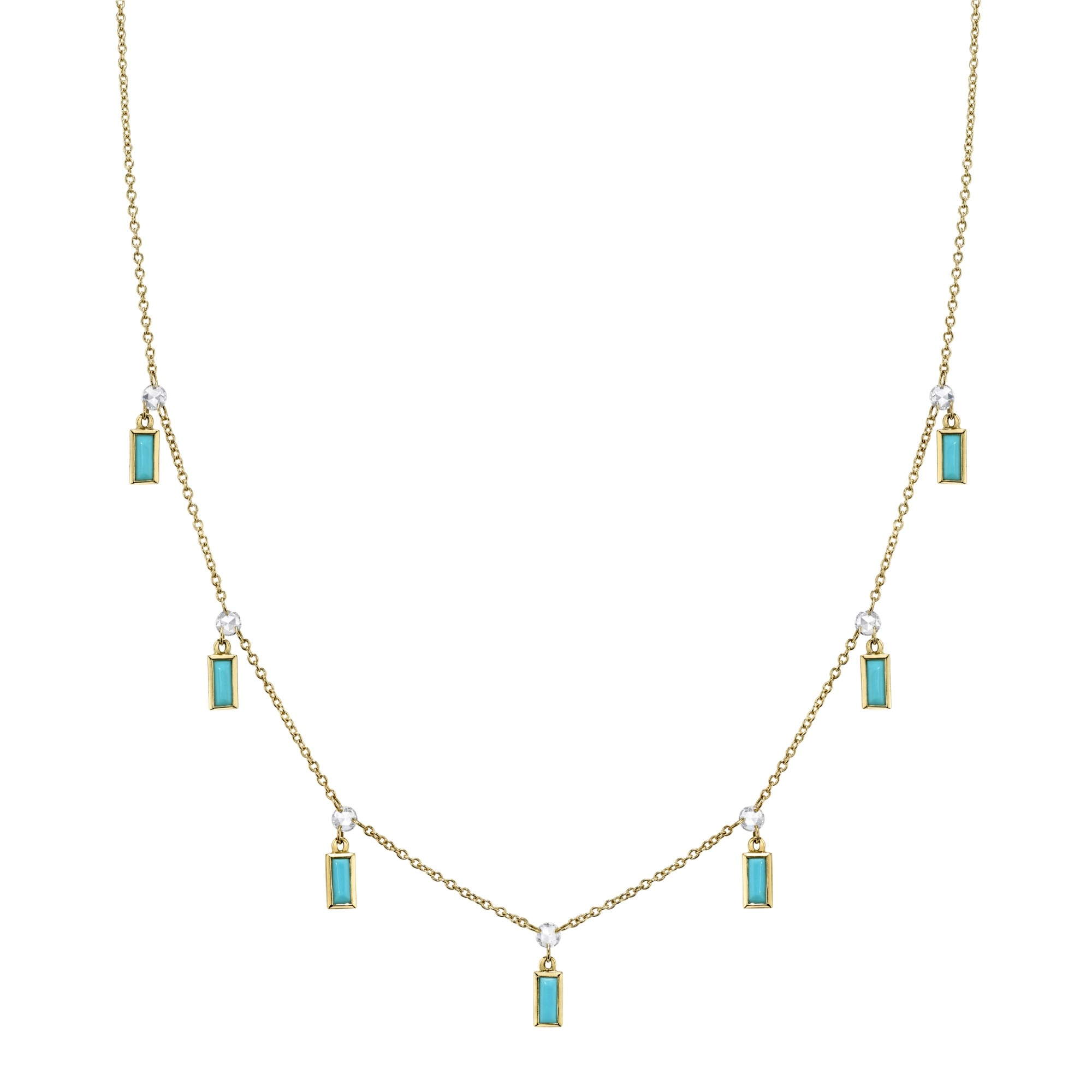 Sloane Street 18K Yellow Gold .33cts  Diamonds Gold Necklace with Stones CH004F-TQ-WD-Y