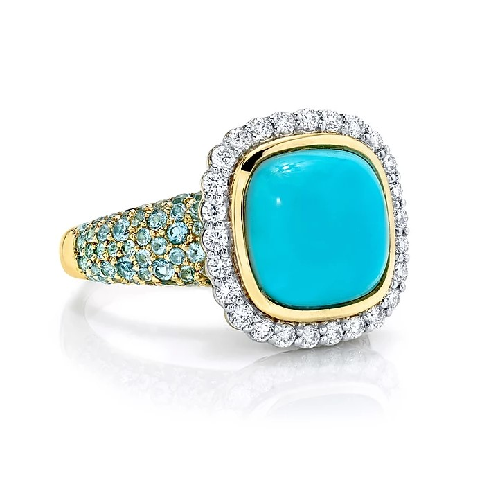 Sloane Street 18K Yellow Gold .39cts  Diamonds Gold Ring with Stones R206T-TQ-WDCB-SWB-Y