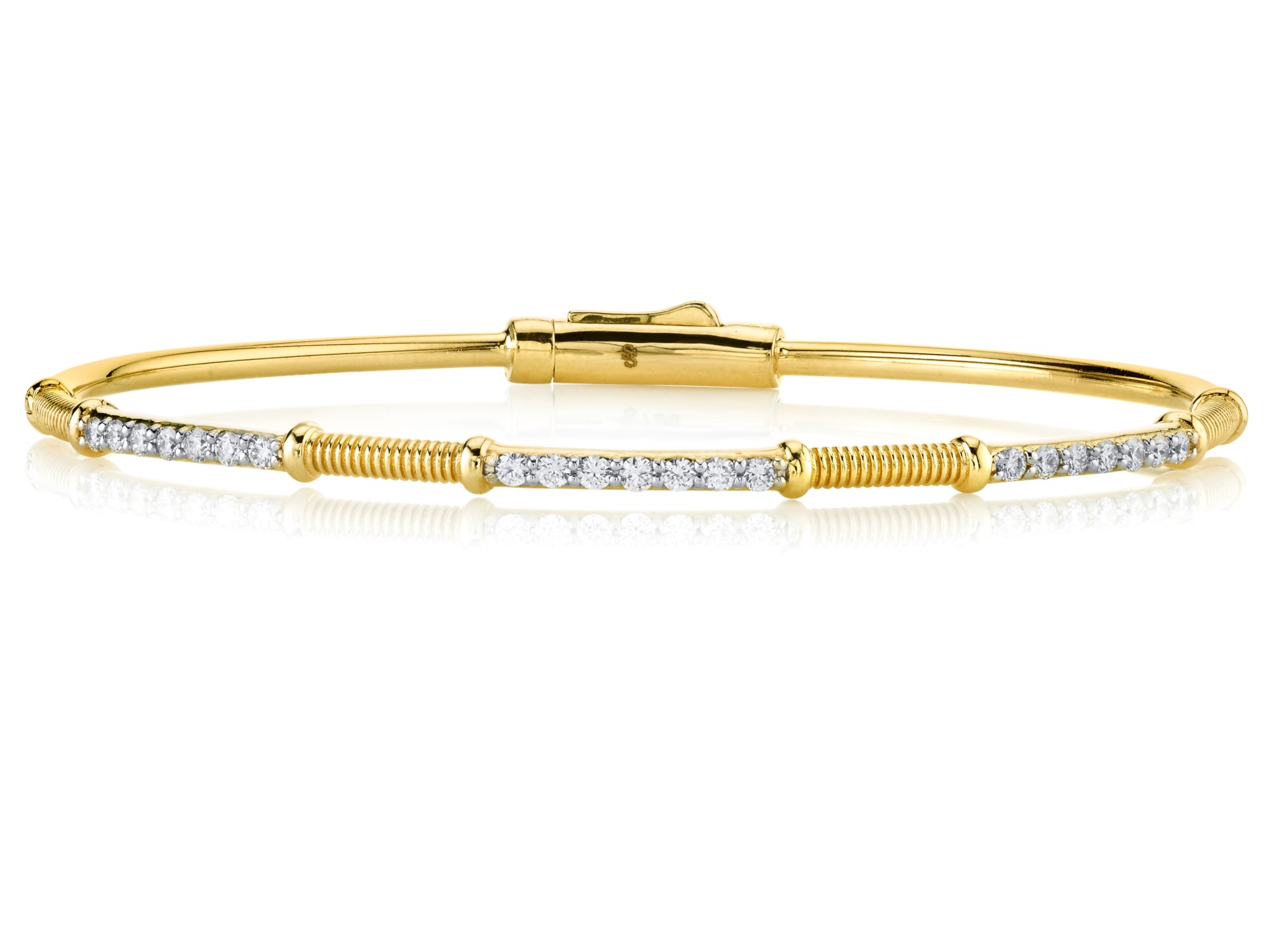 Sloane Street 18K Yellow Gold .41cts  Diamonds Gold Bangle with Stones B026E-WDCB-Y