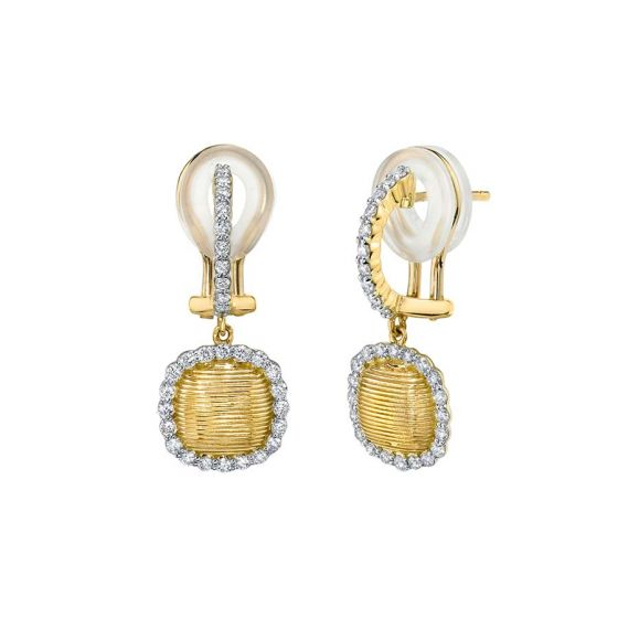 Sloane Street 18K Yellow Gold .44cts  Diamond Gold Earrings with Stones E019F-WDCB-Y