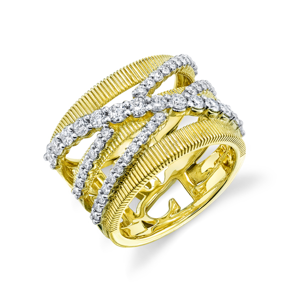 Sloane Street 18K Yellow Gold 1.38cts  Diamonds Gold Ring with Stones R220T-WDCB-Y