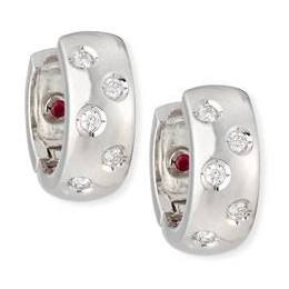 Roberto Coin 18K White Gold .14cts  Diamonds Gold Earrings with Stones 001812AWERX0
