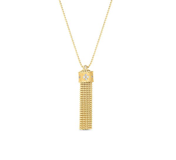 Roberto Coin 18K Yellow Gold .18cts  Diamonds Gold Necklace with Stones 7772977AY33X