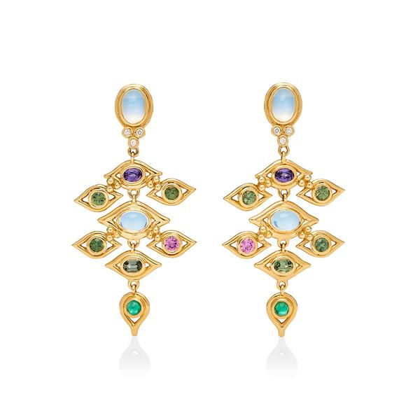 Temple St. Clair 18K Yellow Gold .07cts  Diamonds Gold Earrings with Stones E36157-CAMPDMX