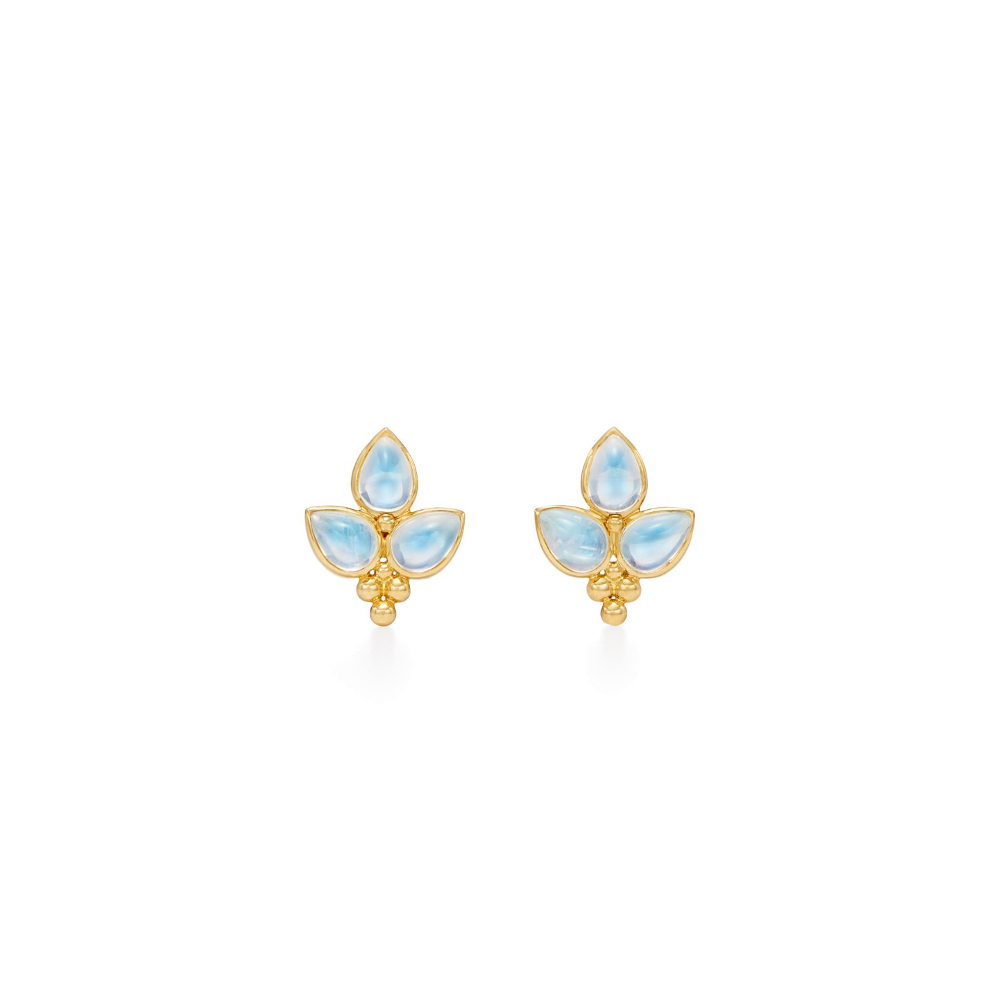 Temple St. Clair 18K Yellow Gold 5.10cts  Blue Moonstones Gold Earrings with Stones E3145-FOGLIABM