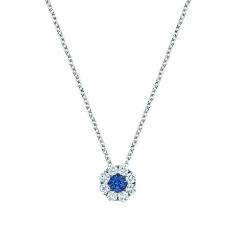 Birks 18K White Gold .28cts  Diamond Gold Necklace with Stones 450009713089