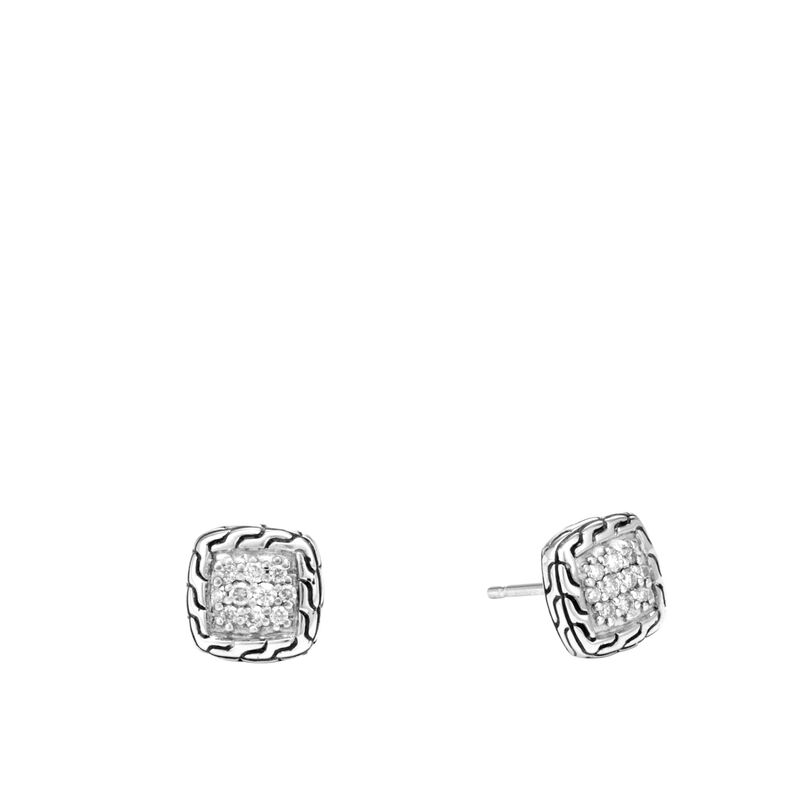 John Hardy    .21cts  Diamonds Silver Earrings with Stones EBP961822DI