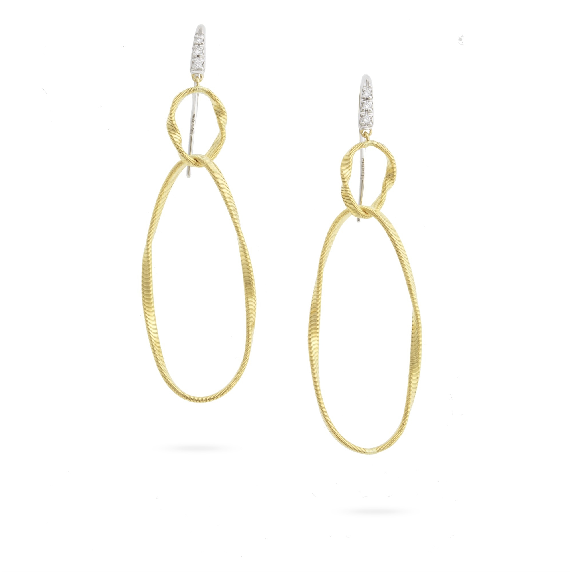 Marco Bicego 18K Yellow Gold .05cts  Diamonds Gold Earrings with Stones OG369-A B YW