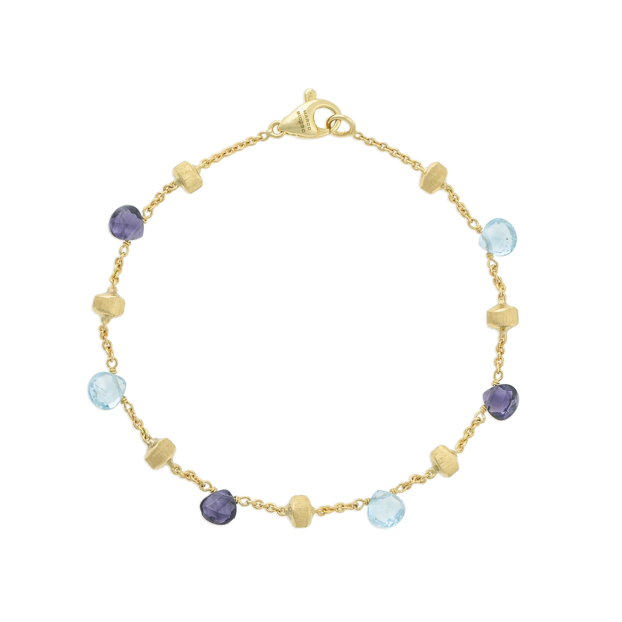 Marco Bicego 18K Yellow Gold  Blue Topaz Gold Bangle with Stones BB765 MIX240 Y
