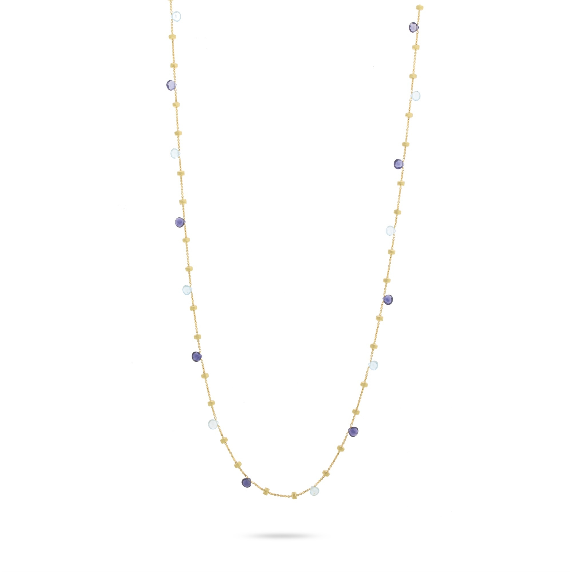Marco Bicego 18K Yellow Gold  Blue Topaz Gold Necklace with Stones CB1199 MIX240 Y