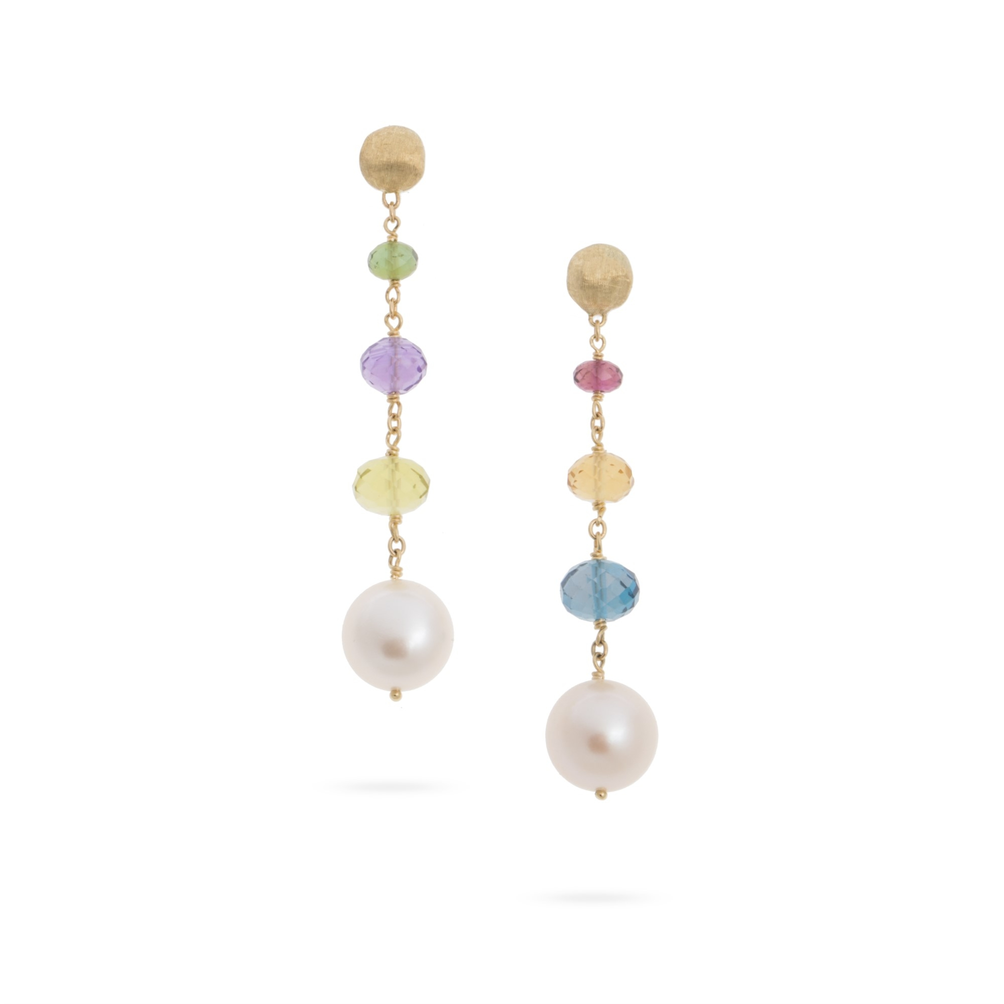 Marco Bicego 18K Yellow Gold   Pearl Gold Earrings with Stones OB1685-PL-MIX02