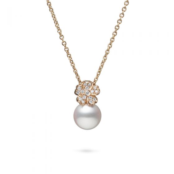 Mikimoto 18K Rose Gold .11cts  Diamonds Pearl Necklace MPA10379ADXZ