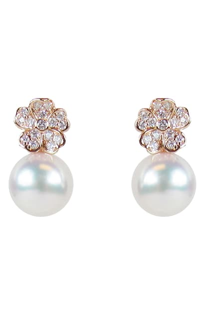 Mikimoto 18K Rose Gold .22cts  Diamonds Pearl Earrings MEA10320ADXZ