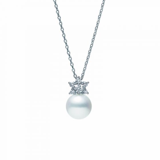 Mikimoto 18K White Gold .11cts  Diamonds Pearl Necklace MPQ10128ADXW