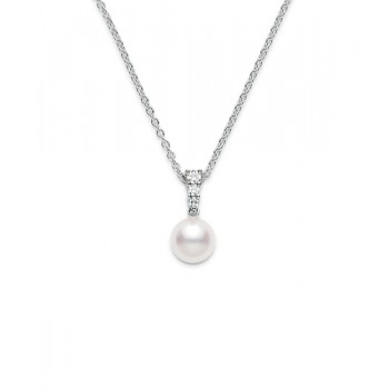 Mikimoto 18K White Gold .12cts  Diamonds Pearl Necklace PPA403DW