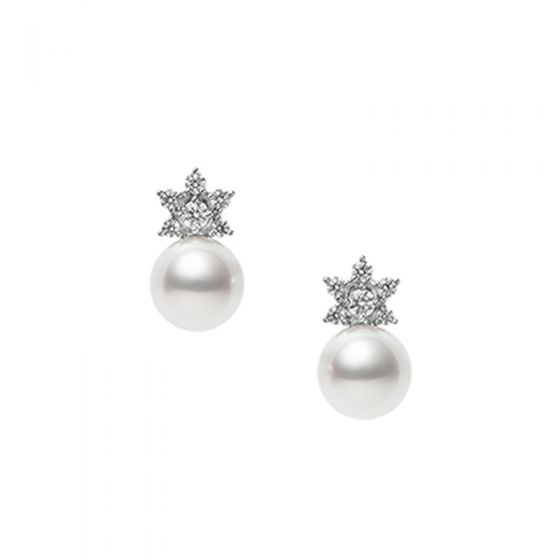 Mikimoto 18K White Gold .22cts  Diamonds Pearl Earrings MEQ10143ADXW