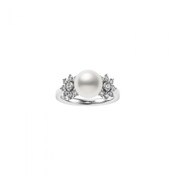 Mikimoto 18K White Gold .39cts  Diamonds Pearl Rings MRQ10075ADXW