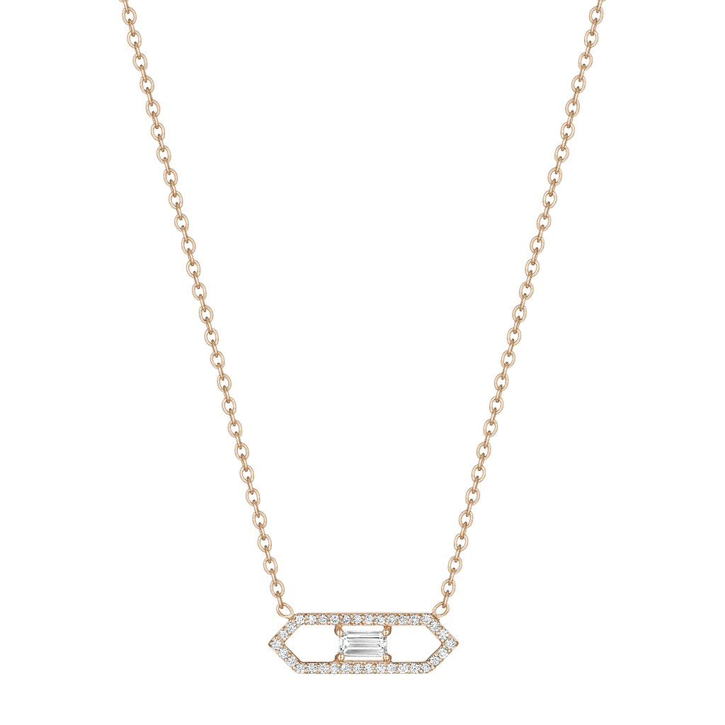 Penny Preville 18K Rose Gold .38cts  Diamonds Gold Necklace with Stones N5160R