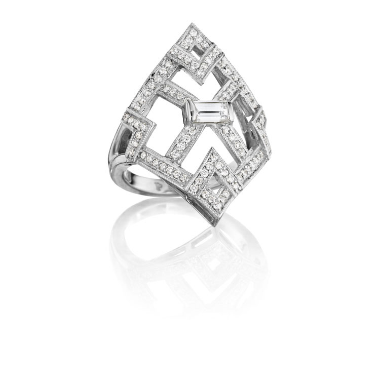 Penny Preville 18K White Gold .76cts  Diamonds Gold Ring with Stones R9057W
