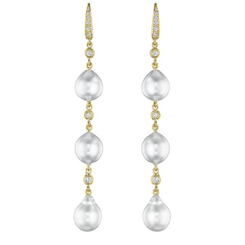 Penny Preville 18K Yellow Gold .47cts  Diamonds Gold Earrings with Stones E5535G
