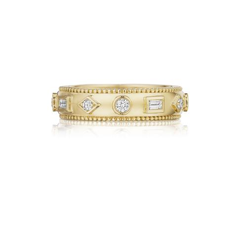Penny Preville 18K Yellow Gold .48cts  Diamonds Gold Ring with Stones R7604G