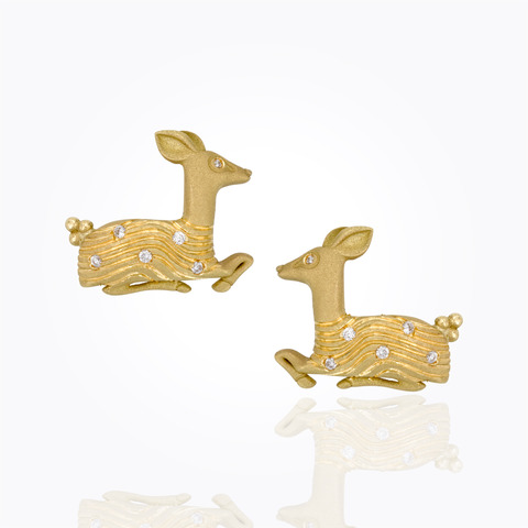 Temple St. Clair 18K Yellow Gold .06cts  Diamonds Gold Earrings with Stones E31847-DEER