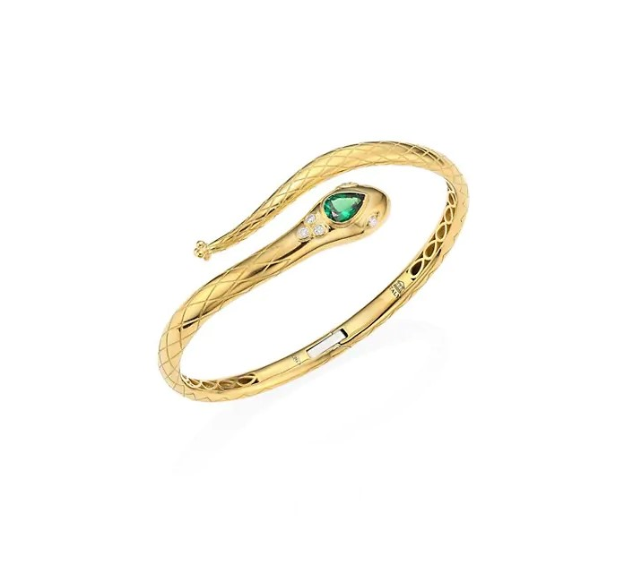 Temple St. Clair 18K Yellow Gold .14cts  Diamonds Gold Bangle with Stones B36135-SERPTV