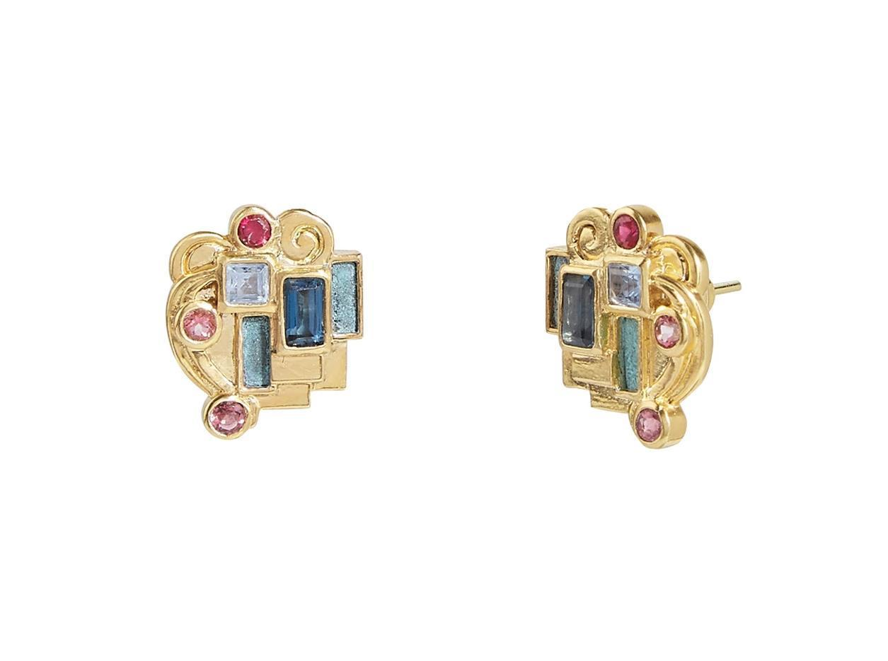 Gurhan 22K Yellow Gold 1.82cts  Mixed Gemstones Gold Earrings with Stones GUE-YG-MSOS-3600
