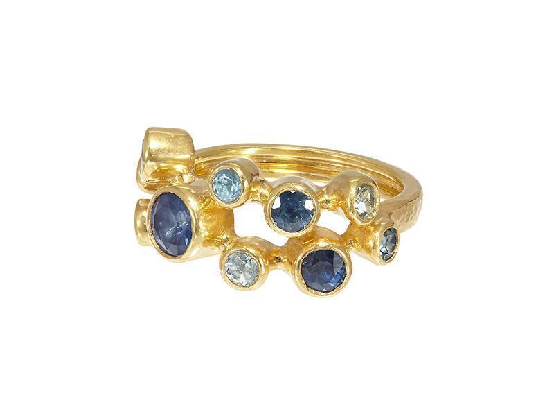 Gurhan 24K-22K Yellow Gold .23cts Blue Sapphire Gold Ring with Stones R-U24776-MS