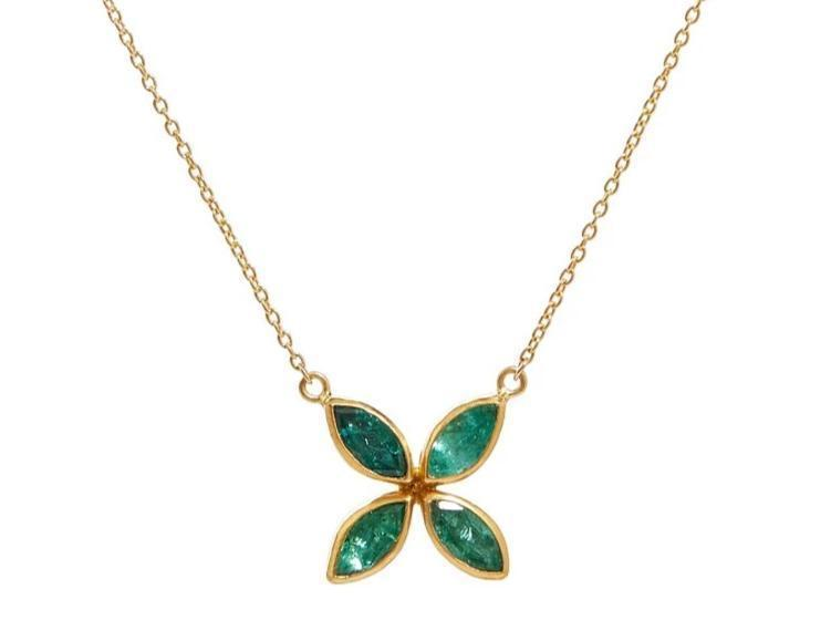 Gurhan 24K-22K Yellow Gold 2.20cts  Emerald Gold Necklace with Stones GU-NPD1618-YG-EM968