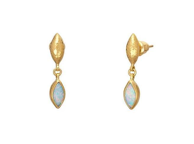 Gurhan 24K Yellow Gold 1.16cts  Marquis Cabochon Opal Gold Earrings with Stones E-U24632-OP