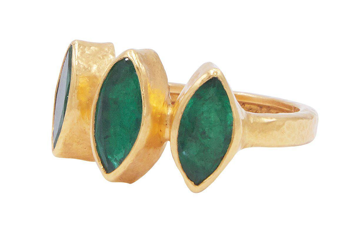 Gurhan 24K Yellow Gold 3.20cts  Emerald Gold Ring with Stones R-U23847-EM
