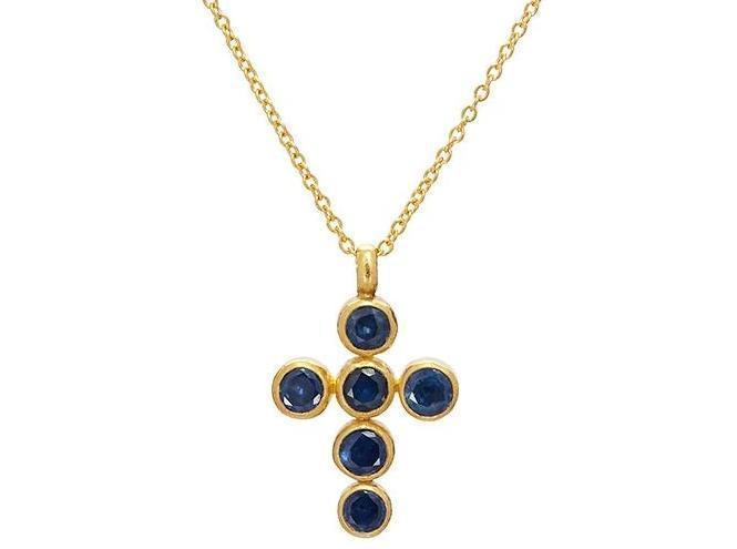 Gurhan 24K Yellow Gold 4.15cts Blue Sapphire Gold Necklace with Stones N-U24088-SA