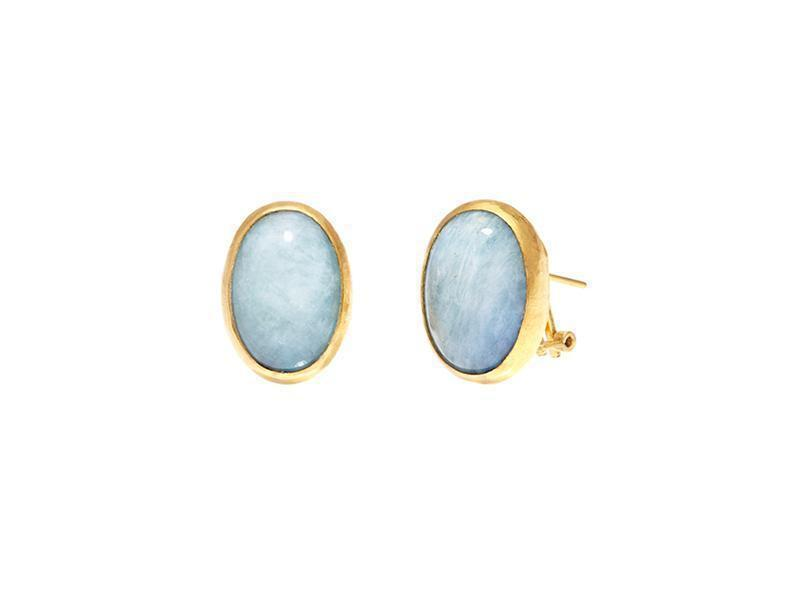 Gurhan 24K Yellow Gold  Blue/Green Aquamarine Gold Earrings with Stones E-LE-AQ1914-CP
