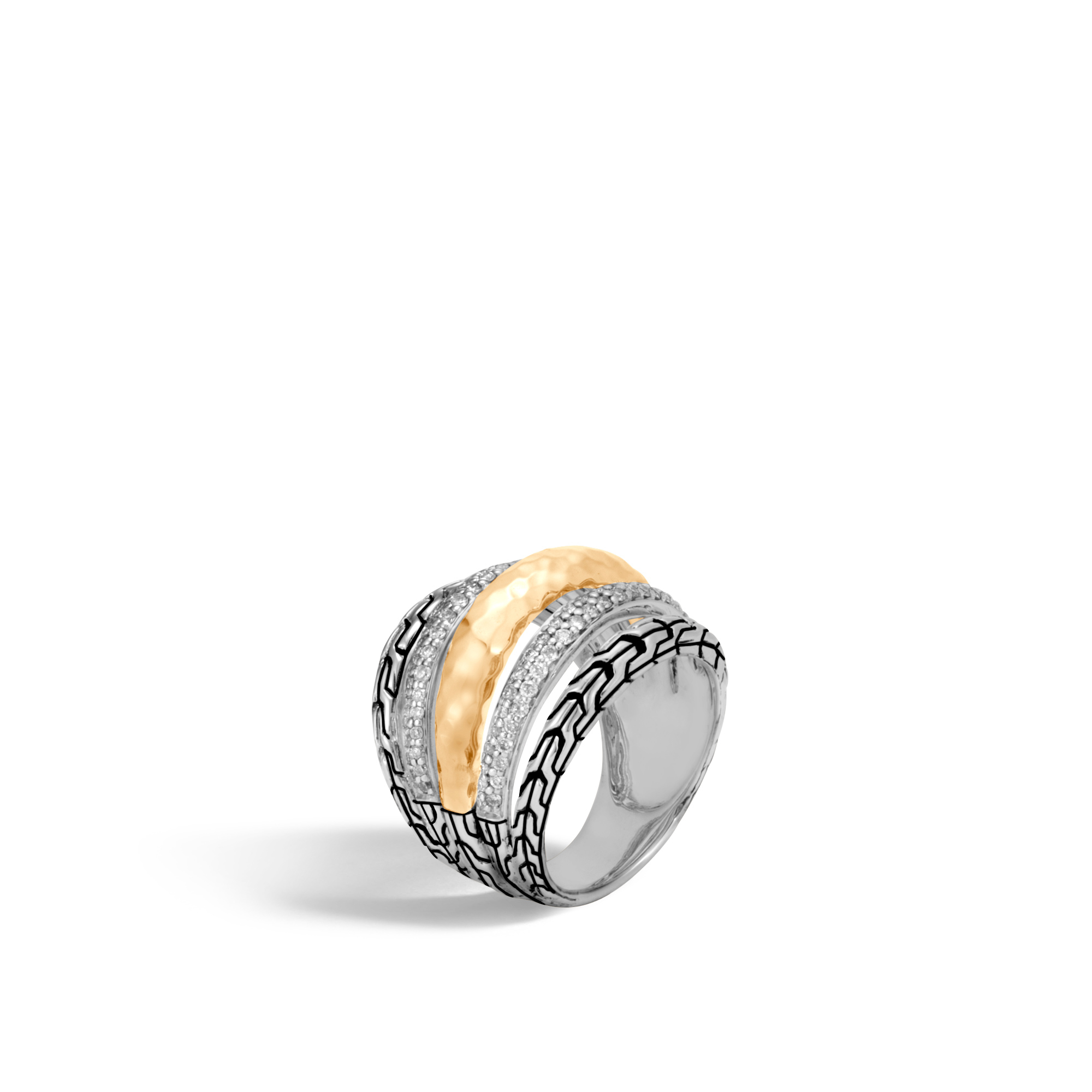 John Hardy 18K  Sterling Silver and Gold   Diamonds Silver Rings with Stones RZP9996992DIX7