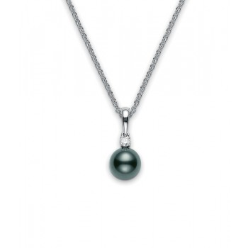 Mikimoto 18K White Gold .10cts  Diamonds Pearl Necklace PPS802BDW