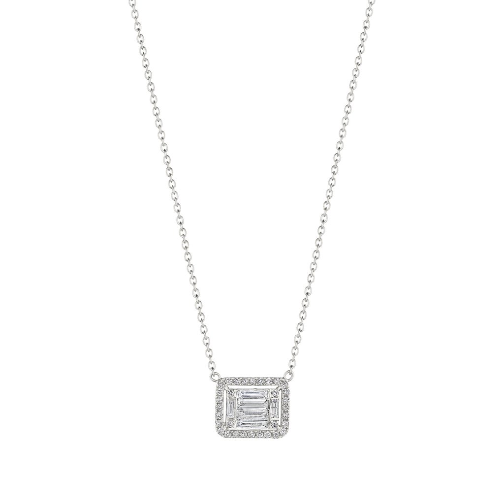 Penny Preville 18K White Gold .87cts  Diamond Gold Necklace with Stones N5207W