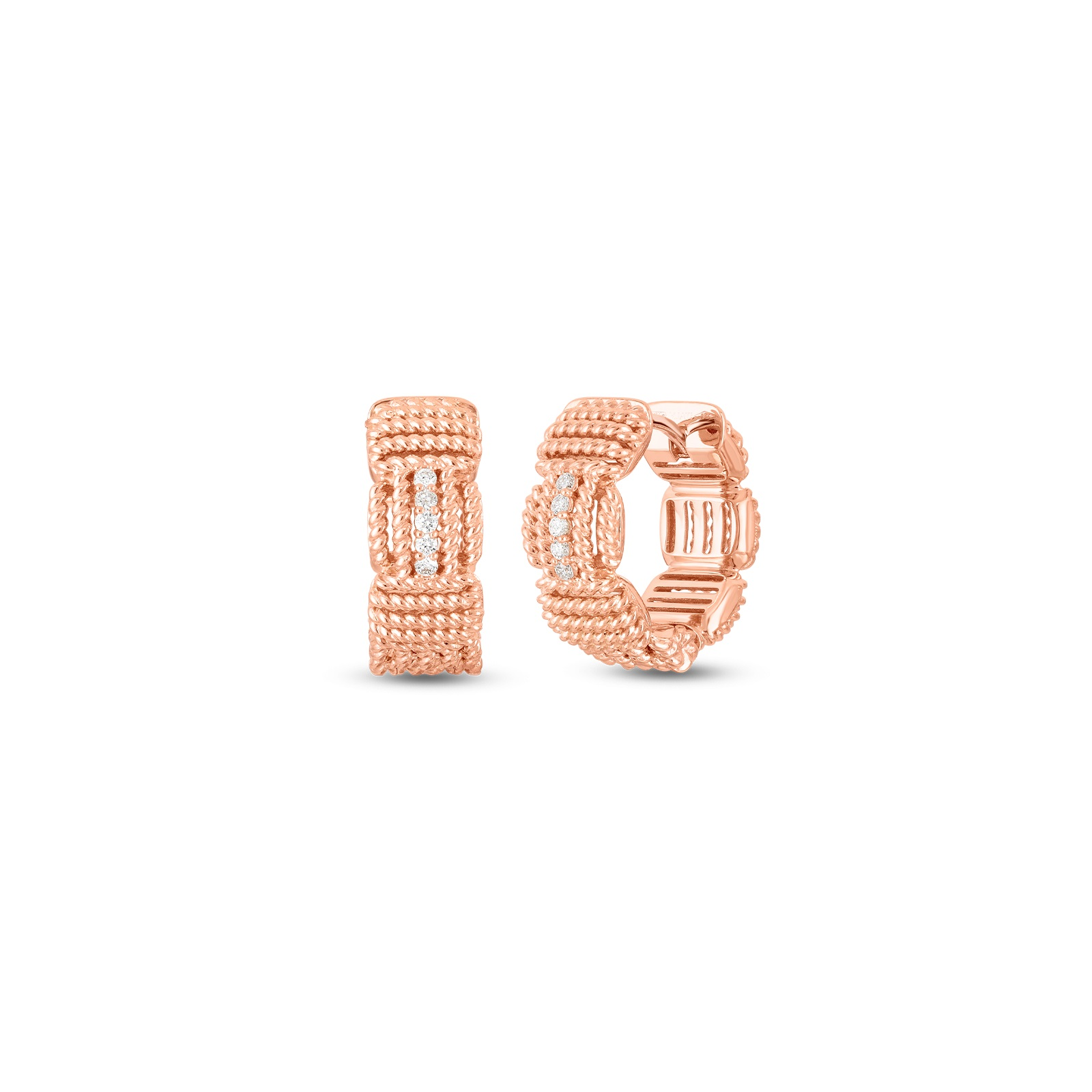 Roberto Coin 18K Rose Gold .07cts  Diamonds Gold Earrings with Stones 7772894AXERX