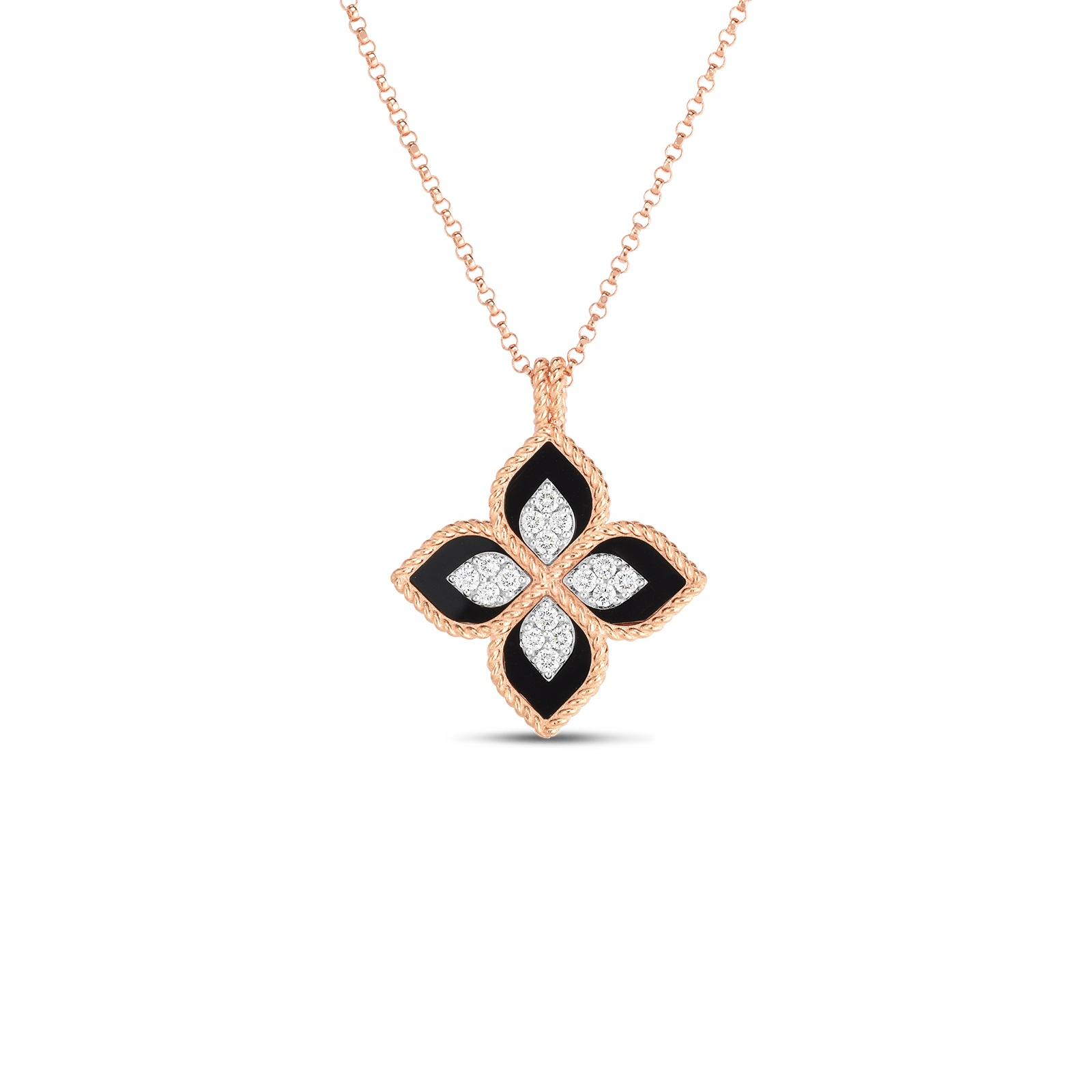 Roberto Coin 18K Rose Gold .16cts  Diamond Gold Necklace with Stones 8882784AHCHXB