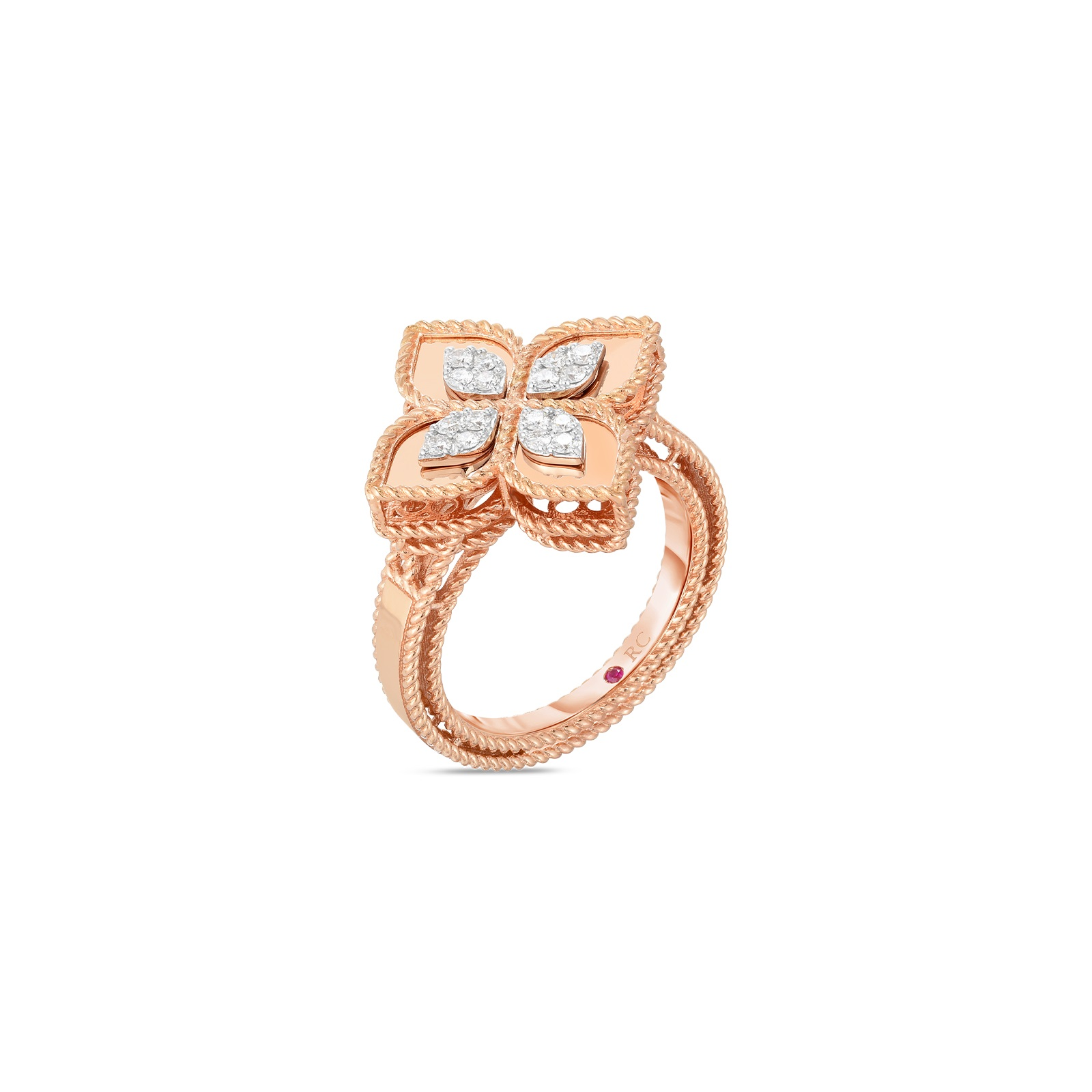 Roberto Coin 18K Rose Gold .17cts  Diamonds Gold Ring with Stones 8882754AH65X