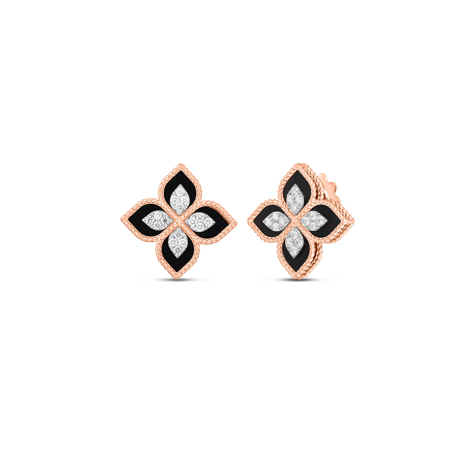 Roberto Coin 18K Rose Gold .35cts  Diamonds Gold Earrings with Stones 8882784AHERB